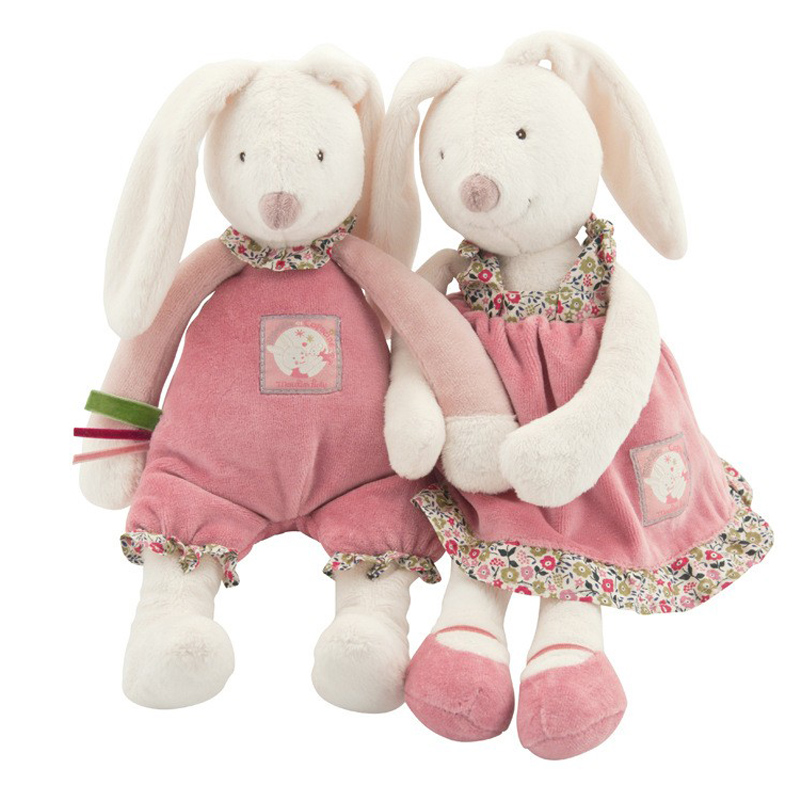 32cm Baby Play Soft Plush Toys High Quality Lovely Rabbit Appease towel Doll Baby Dolls Hold Christmas Play Stuffed Muppet Toys stuffed animal 120 cm cute love rabbit plush toy pink or purple floral love rabbit soft doll gift w2226
