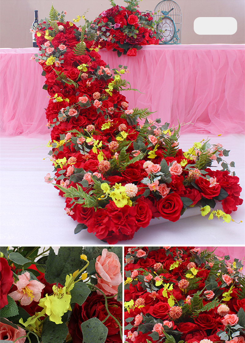JAROWN Wedding Props Flower Row Trailing Floral Set Flower Wall Welcome Area Stage Layout Decor Home Party Decoration (9)