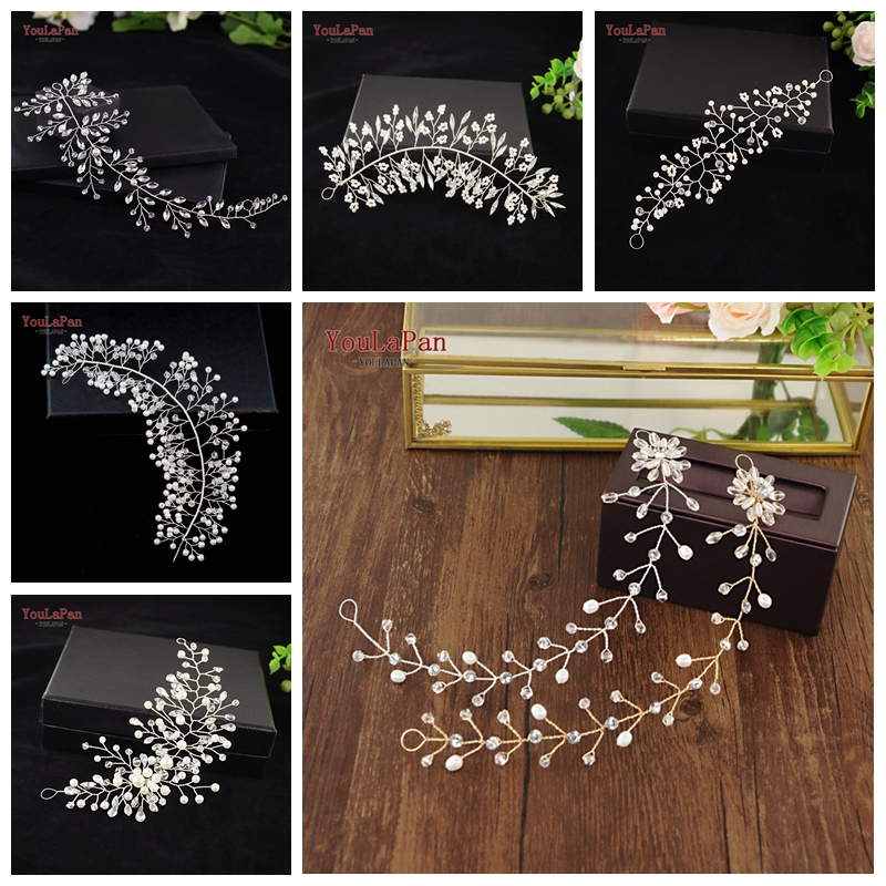 YouLaPan Many Style Bridal Tiara Bridal Hair Vine Bridal Wedding Hairpins Clips  Wedding Hair Jewelry Handmade Wedding Headband