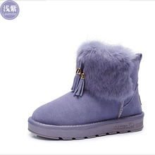 Camel  snow boots women 2015 new winter boots warm rabbit hair cashmere leather boots slip-on  A54502601