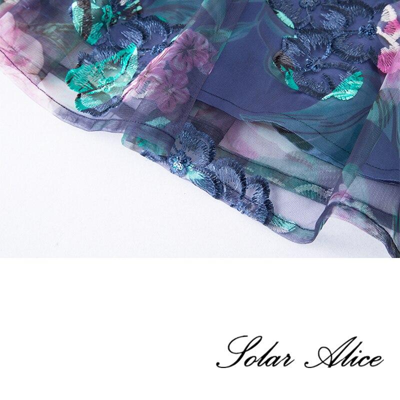 Print Manches 5xl Moitié Femmes Mini Alice Imprimé O Broderie Zipper cou ligne Robe A Floral Livraison Gratuite Solaire Femelle Régulier HTqRwa