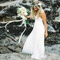 2017 Praia Spaghetti Sexy Backless Lace Boho Vestidos de Casamento Robe De Mariage Vestido De Casamento Boêmio