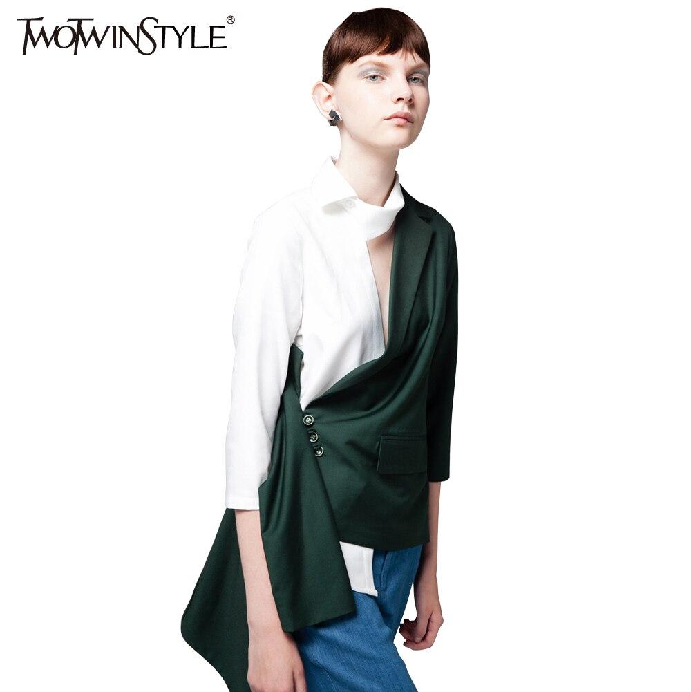 TWOTWINSTYLE Patchwork Asymmetric Blazer Suits Women New Coat 2019 Autumn Fashion Clothing
