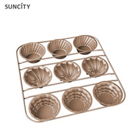 9 Cups Metal Muffin Cupcake Mold Tins 3D Cute Handmade Flower Jelly Pudding Fondant Cookie Mini Mould Baking Cake Pan bm-050
