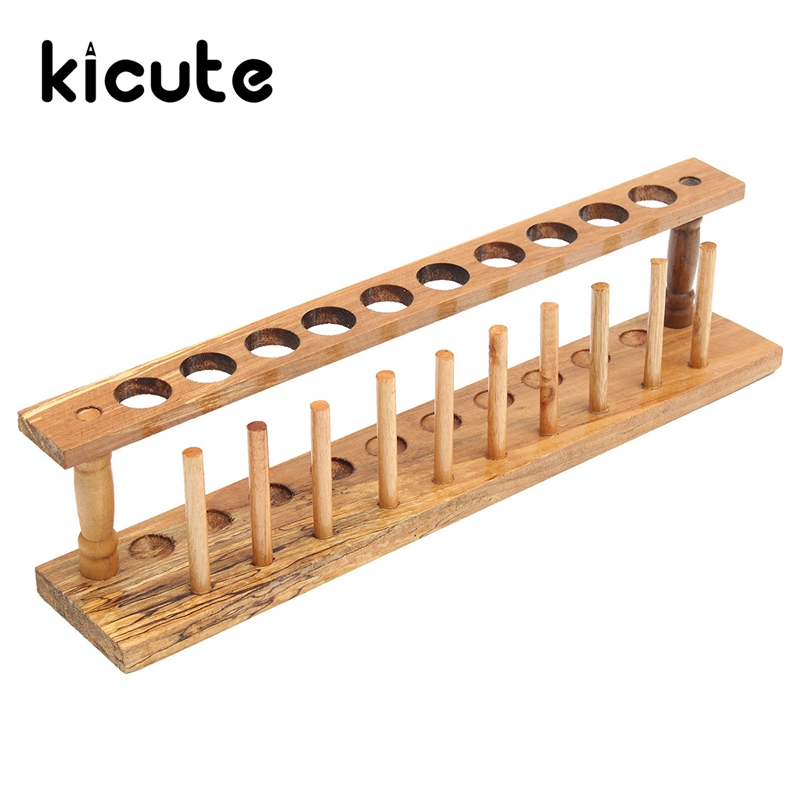 Kicute New Wooden Test Tube Rack 10 Holes and 10 Pins Holder Support Burette Stand Laboratory Test tube Stand Shelf Lab Supply