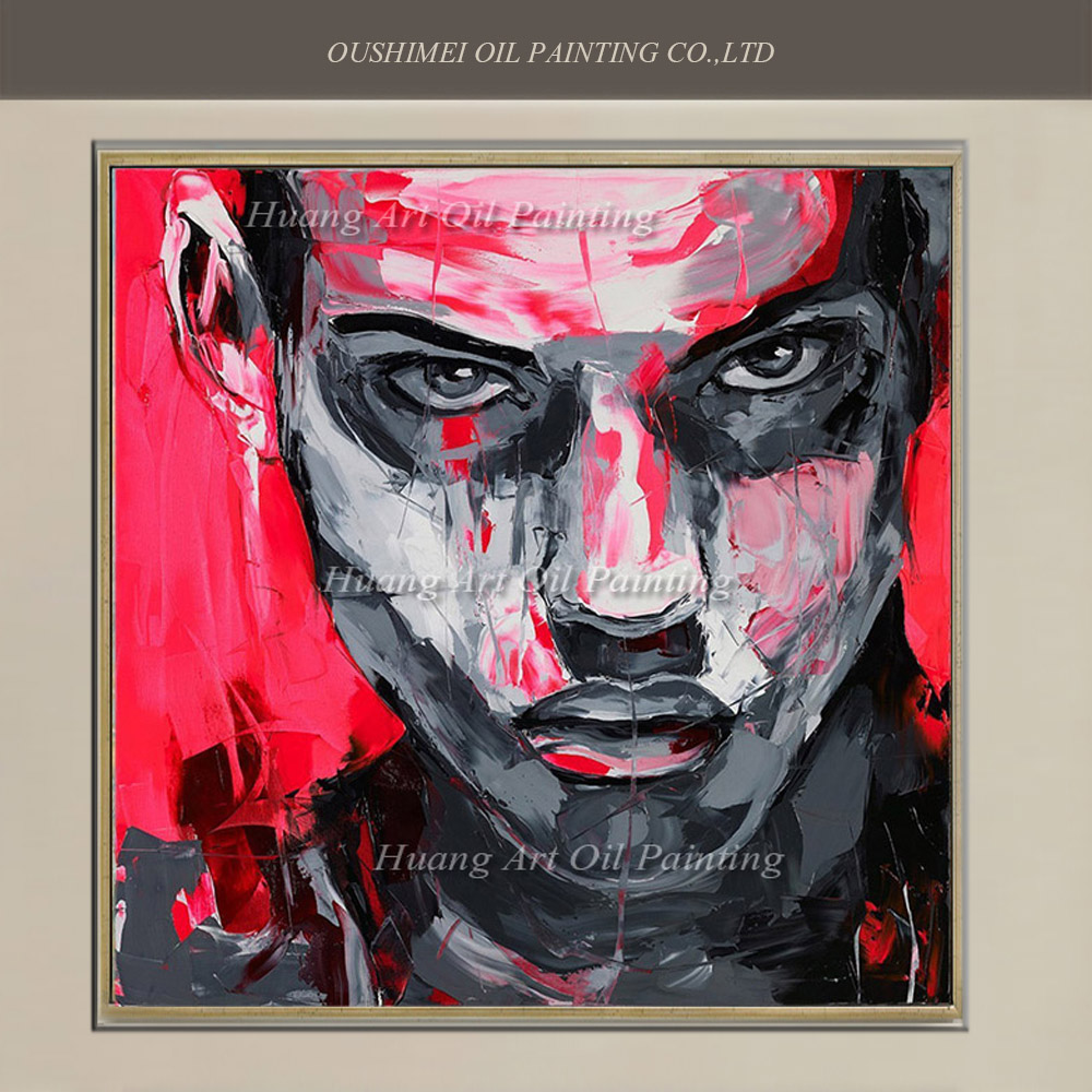 online get cheap mural painting pictures aliexpress com alibaba new hand painted modern red abstract knife man portrait on canvas wall art oil painting mural