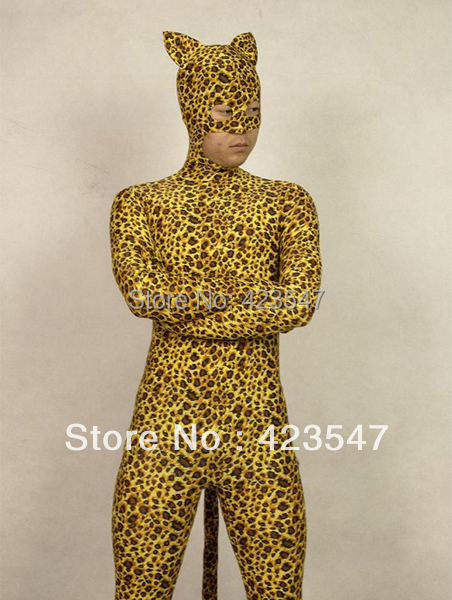 Leopard Pattern Lycra Spandex Zentai Suit Halloween Party Cosplay Catsuit