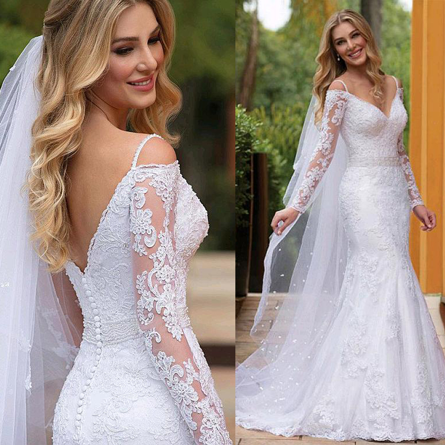 Stunning Tulle V-neck Spaghetti Straps Mermaid Wedding Dresses With Lace Appliques & Beadings Long Sleeves Bridal Dress