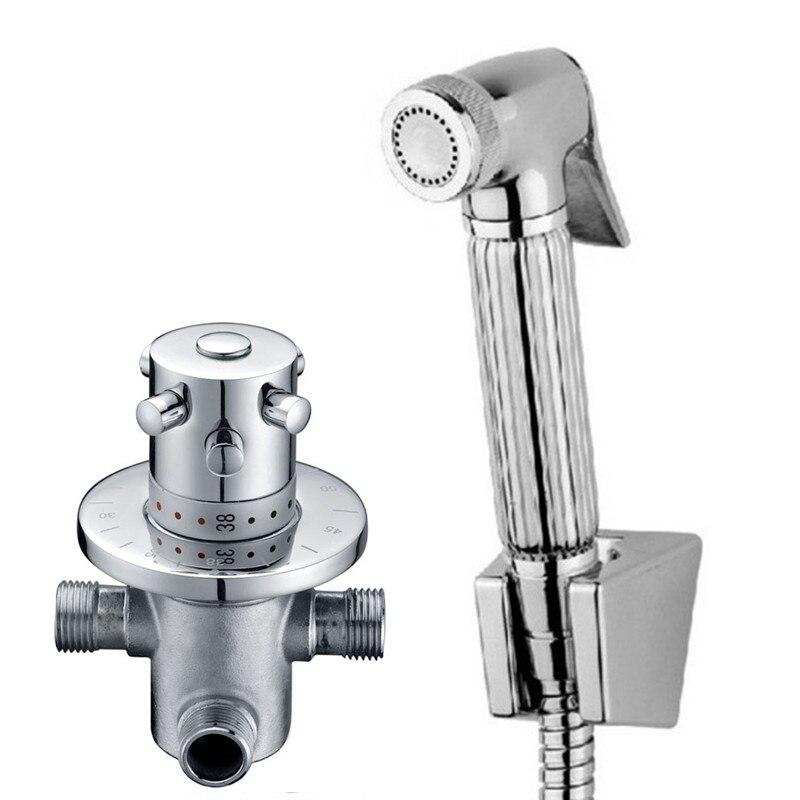 Bathroom Thermostatic Mixer Valve Bidet Spray Water Mixing: Portable Toilet Hand Bidet Spray With Thermostatic