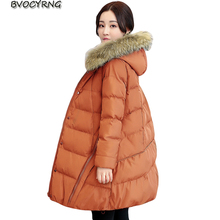 New Women Winter Coat 2017Fashion Heavy Hair Collar Thick parka High Quality Down Cotton Long Big yards Loose Jacket A0032
