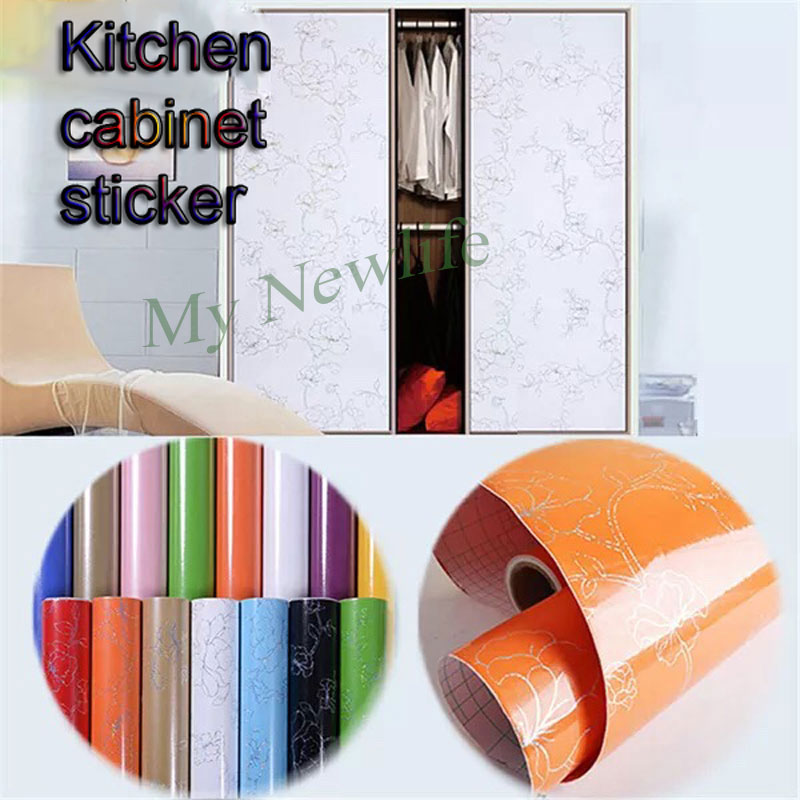 Cabinet Vinyl Self adhesive Film Wallpaper Wardrobe Cupboard Furniture Poster Kitchen Cabinet Wall Stickers Home decor wide 60cm in Wall Stickers from Home Garden