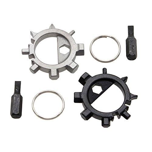 2 Pcs Stainless Steel Multi Tool Bicycle Bike Repair Screwdriver Opener Keychain mini stainless steel multifunction screwdriver keychain
