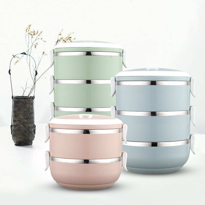 Natural Nordic Design colorful Portable stainless steel lunch box Bento Box combination container for food thermal insulation