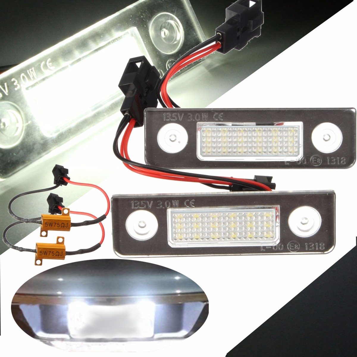 2x 13.5V 3W 7000k White Canbus Error Free LED License Plate Light Number Plate Light for Skoda /Octavia /Roomster 5J 2x led car styling canbus no error code license plate lamp for smart fortwo rear number plate light auto accessory
