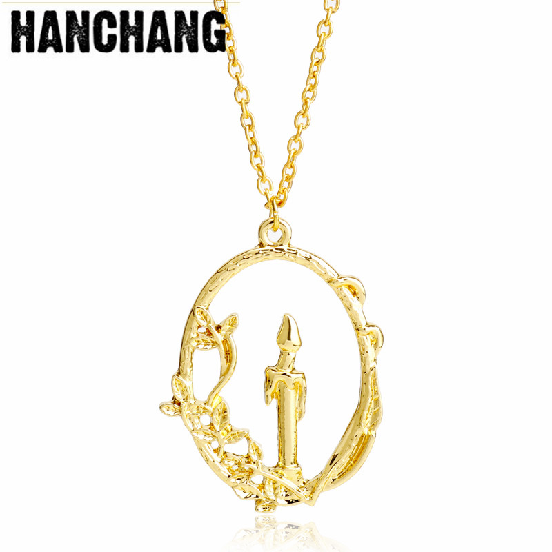 Movie Beauty Beast Necklace Burning Candle Peach Blossom Pendant Beauty And The Beast Necklace Fashion Jewelry For Women Men