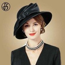 FS בציר שחור נשים חורף פדורה 100% צמר אוסטרלי כובעי פעמון נשי רחב שוליים כובע גבירותיי Bowknot עבור הכנסייה כובעים