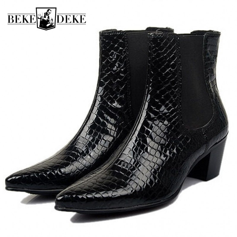 Pointed Toe Genuine Leather Men Boots Spring Autumn British Style High Heels Ankle Boots Fashion Slip