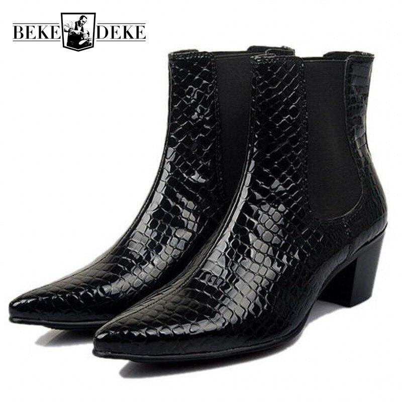 지적 발가락 정품 가죽 남성 부츠 봄 가을 영국 스타일 하이힐 발목 부츠 패션 슬립 첼시 부츠 37 43-에서첼시 부츠부터 신발 의  그룹 1