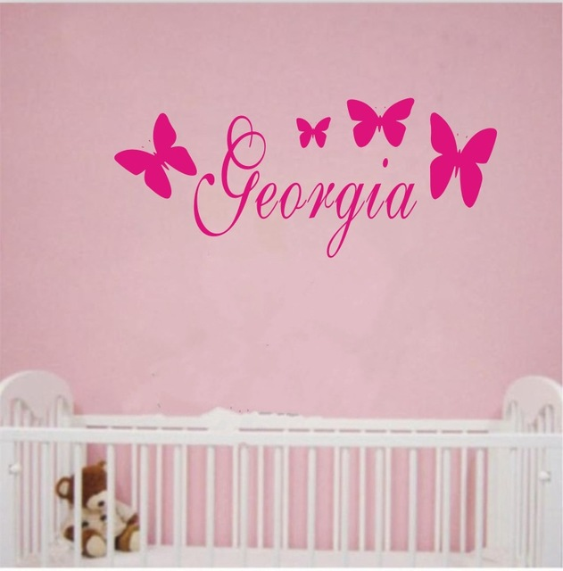 Personalized Butterfly Any Name Vinyl Wall Stickers Customer Name With Butterflies Wall Art Decal for Kids  sc 1 st  AliExpress.com & Personalized Butterfly Any Name Vinyl Wall Stickers Customer Name ...