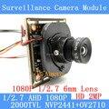 2-МЕГАПИКСЕЛЬНАЯ ВИДЕОНАБЛЮДЕНИЯ OV2710 Камеры Модуль 1920*1080 AHD AHD 1080 P низкая Освещенность 0.001lux OSD Кабель 2000TVL 1080 P 6 мм Объектив/BNC кабель