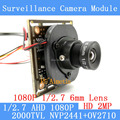 AHD 2MP CCTV OV2710 Camera Module 1920 * 1080 AHD 1080P  Low Illumination 0.001lux OSD Cable 2000TVL 1080P 6mm Lens / BNC Cable