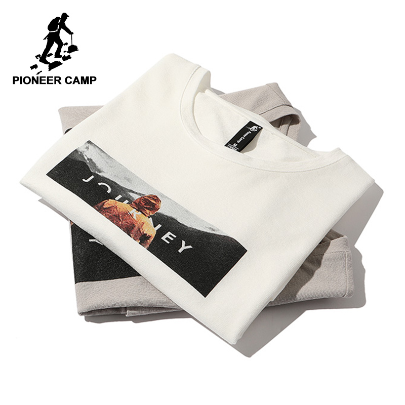 Pioneer camp new short sleeve   t     shirt   men brand clothing casual printed   t     shirt   cotton breathable quality tees male ADT803140