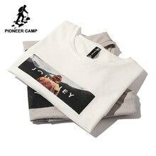 Pioneer camp nova manga curta t camisa masculina roupas de marca casual impresso t camisa algodão respirável qualidade t masculino adt803140
