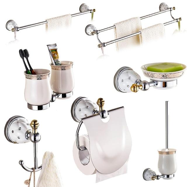 Etonnant Solid Brass Modern Silver Polished Bathroom Accessories Sets Star Diamond  Hardware Set Wall Mounted Bathroom Accessories