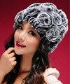 Moda de nova Genuine Malha Rex Rabbit Fur Chapéu de pele de Coelho Naturais De Pele Flor Caps Moda Feminina Elástico Chapéu Tampão do Inverno