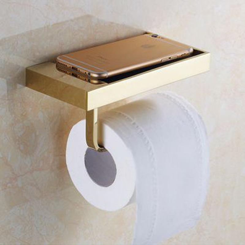 Xogolo Solid Brass Fashion Brief Wall Mounted Phone Shelf Bathroom Toilet Paper Towel Holder Roll Holder Accessories in Paper Holders from Home Improvement