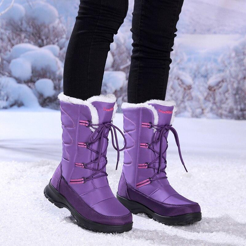 겨울 방수 나일론 고무 여자 허벅지 높은 부츠 패션 럭셔리 브랜드 부츠 여자 블랙 레이스 따뜻한 롱 스노우 부츠 여자-에서미드 카프 부츠부터 신발 의  그룹 3