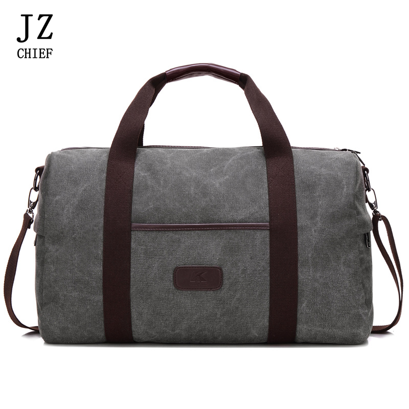 JZ CHIEF Large Travel Bag For Men Large Capacity Canvas Duffle Bag Solid Vintage Travel Totes Casual Business Trip Zipper Bags