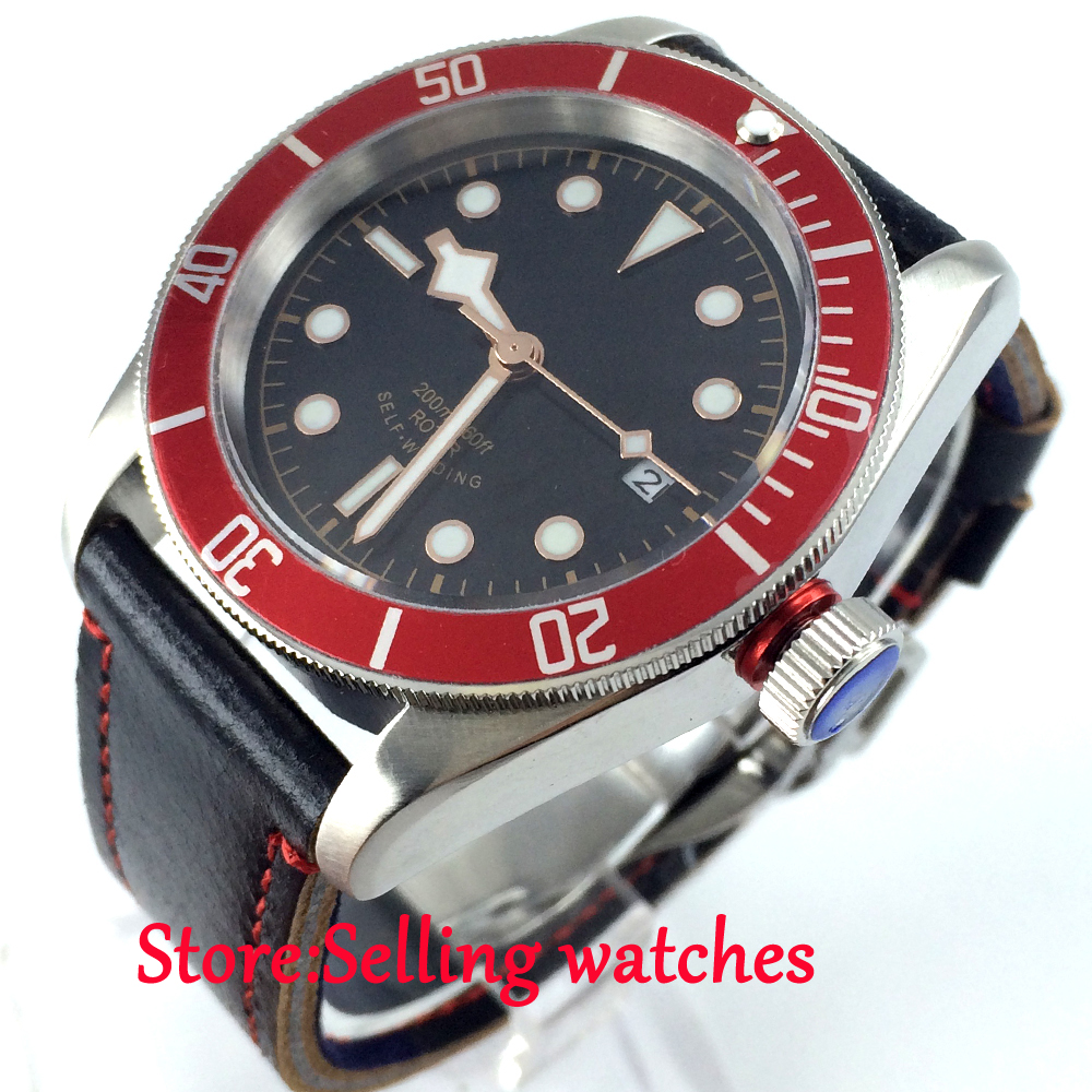 лучшая цена 41mm corgeut black dial red bezel Sapphire Glass miyota Automatic mens Watch
