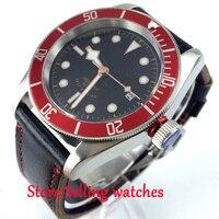41mm corgeut miyota Vidro de Safira mens Relógio Automático mostrador preto moldura vermelha