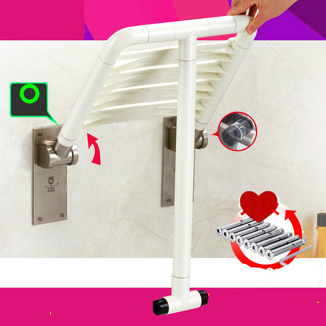 Multifunctional Bathroom Folding Seat Shower Stool Wall Chair Stool Old  People Pregnant Women Anti Skid
