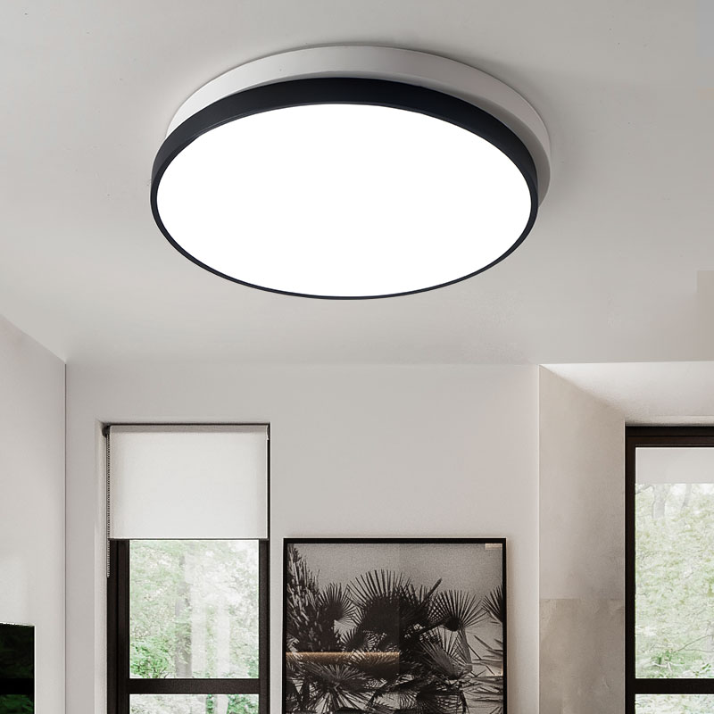 Modern Stylish Round Circle Double Layers Acrylic Scrub Black/White Shade LED Ceiling Light for Living RoomModern Stylish Round Circle Double Layers Acrylic Scrub Black/White Shade LED Ceiling Light for Living Room