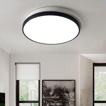 Moderne élégant rond cercle Double couches acrylique gommage noir/blanc ombre LED plafonnier pour salon