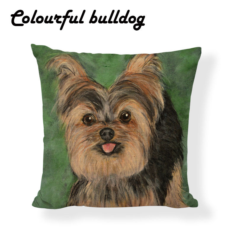 Lovely Dog Print Yorkshire Terrie Cushion Case Art Pillow Cover Farmhouse Square Linen Decorative Halloween Funda Almohada