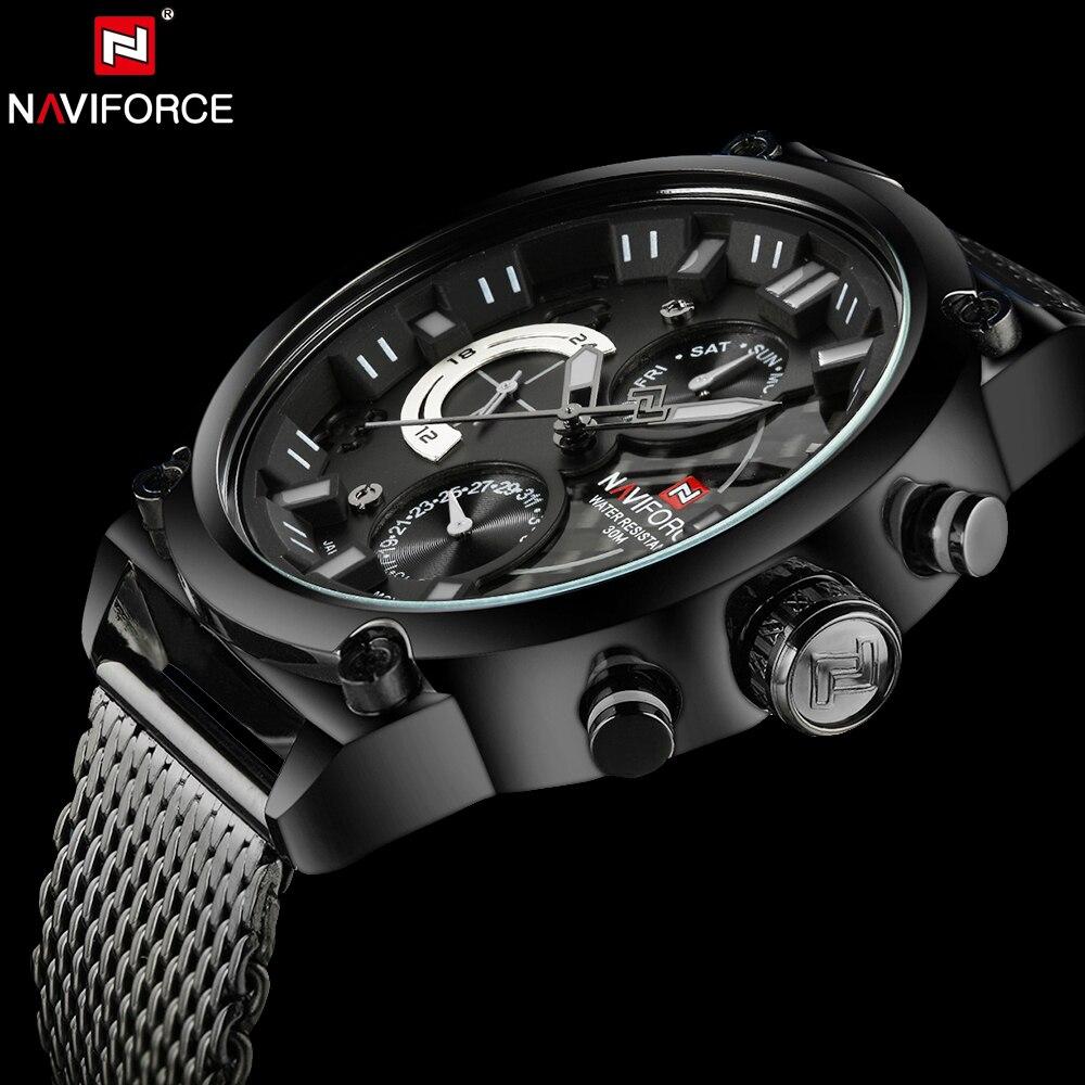 NAVIFORCE люксовый брендовый мужской 3ATM водонепроницаемые часы Мужские Аналоговые кварцевые часы 24 часа дата часы мужские спортивные часы полностью Стальные наручные часы