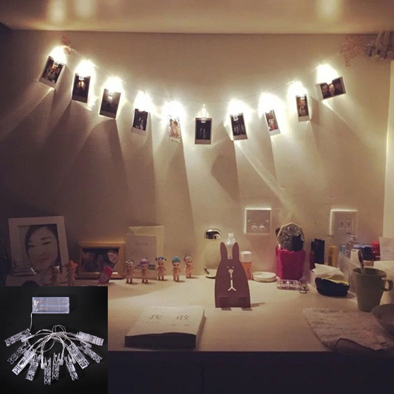 Holiday Lighting 1.2M 10 LED Card Photo Wall Clip Fairy String Light Home Christmas Decoration Battery Operated Lamps AL WWO66
