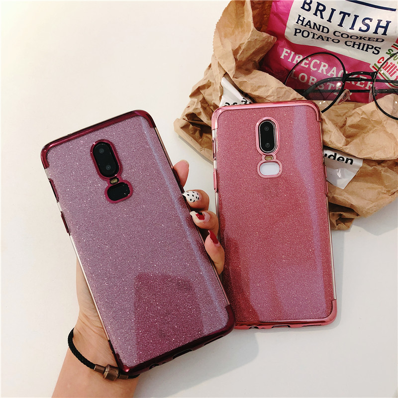purchase cheap d5664 4402f 1+6 Glitter TPU Case For One Plus 6 Cover OnePlus 6 Silicone Bling Soft  Cover For One Plus 5 5T Transparent Phone Cases Fundas