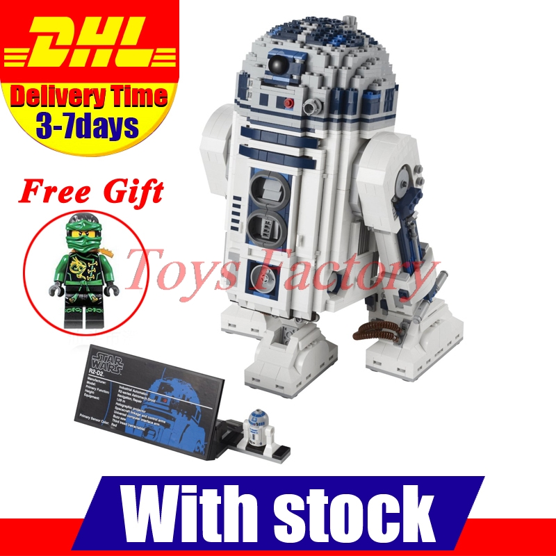 DHL Clone 10225 LELE 35009 UCS Genuine Star War Series The R2 D2 Robot Set font