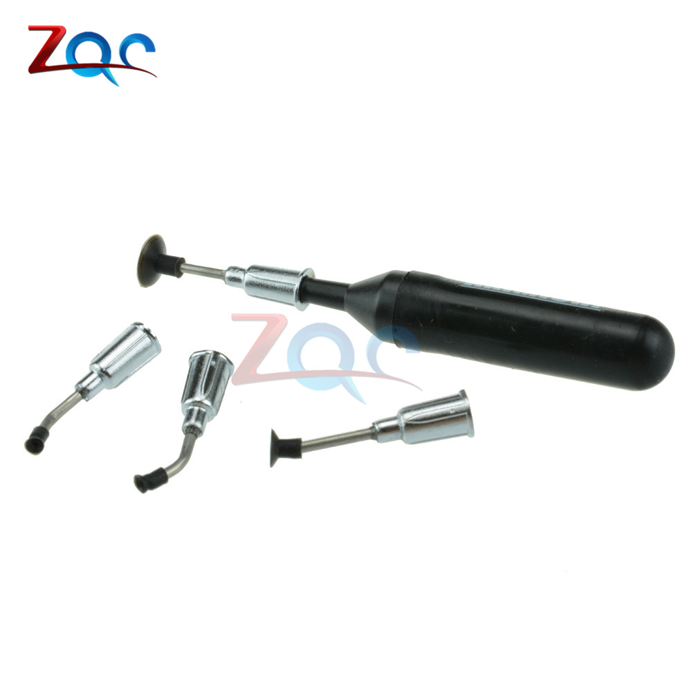 SMD IC Vacuum Sucking Pen Picker Pick Hand Tool 4 Suction Headers for MT-668 top nflc needle head ic smd picker vacuum black sucking pen w suction header