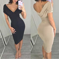 Bigsweety Elegant Women Sexy Deep V-Neck Dresses Ladies Party Dress Bandage Dress 2018 Short Sleeve Bodycon Dresses Vestidos