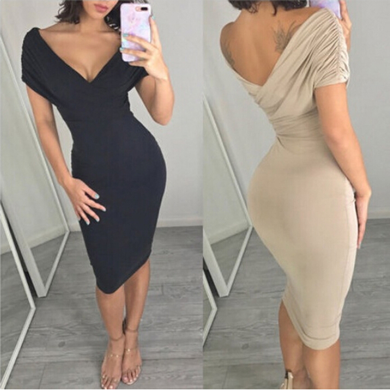 Bigsweety Elegant Women <font><b>Sexy</b></font> Deep V-Neck <font><b>Dresses</b></font> Ladies <font><b>Party</b></font> <font><b>Dress</b></font> <font><b>Bandage</b></font> <font><b>Dress</b></font> 2018 Short Sleeve Bodycon <font><b>Dresses</b></font> Vestidos image