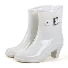 6740cbe7968 CHANGYUGE Fashion Buckle Ladies Rain Boots High Heel Waterproof Ankle Rubber  Plus Size Woman Short Rain