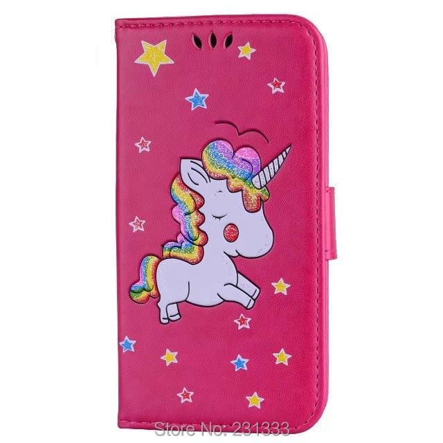 Блеск кошелек кожаный чехол для iPhone X 8 7 Plus I7 6 6 S 5 5S SE единорог лошадь звезды ТПУ Стенд ID Card фото обложки 1 шт.