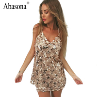 Abasona Sequin Dress Women Beach Summer Dress New Year 2017 Straps Vintage Sexy Party Dresses Golden