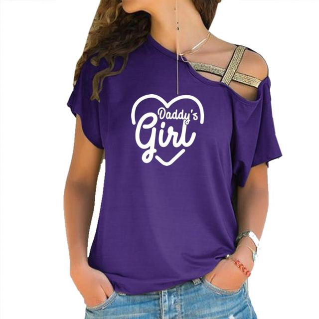 2019 Dropshipping New Fashion Daddys Girl Print T-Shirt Female Plus Size Women Top Femme Off Shoulder Cotton Summer Cute Top 3