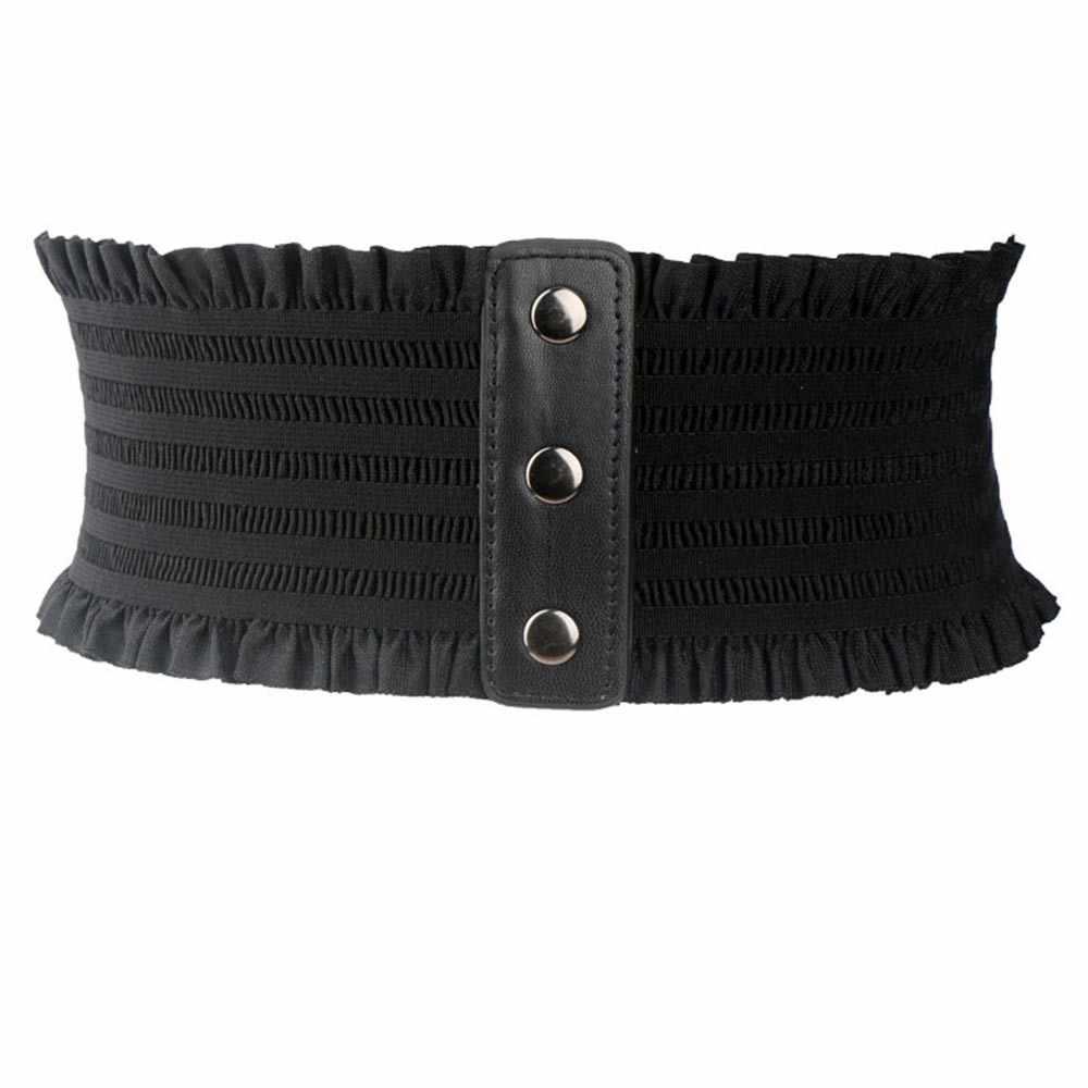 Готическая мода, чистый черный полосатый широкий пояс для женщин, новинка 2019, бандаж с бантом из искусственной кожи, мягкий эластичный пояс, тонкий Простой широкий пояс